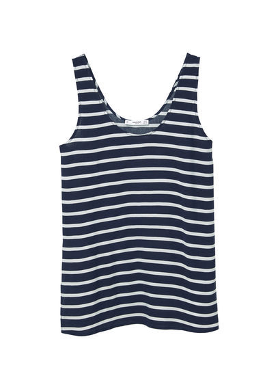Printed Top - neckline: round neck; pattern: horizontal stripes; sleeve style: sleeveless; style: vest top; secondary colour: white; predominant colour: black; occasions: casual; length: standard; fibres: viscose/rayon - 100%; fit: body skimming; sleeve length: sleeveless; pattern type: fabric; texture group: jersey - stretchy/drapey; multicoloured: multicoloured; season: s/s 2016; wardrobe: basic