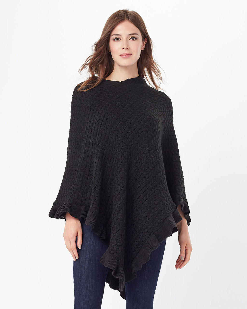 Lou Lou Frill Poncho - pattern: plain; length: below the bottom; collar: round collar/collarless; fit: loose; style: poncho/blanket; predominant colour: black; occasions: casual; fibres: acrylic - 100%; sleeve length: long sleeve; texture group: knits/crochet; collar break: high; pattern type: fabric; sleeve style: cape/poncho sleeve; season: s/s 2016; wardrobe: highlight