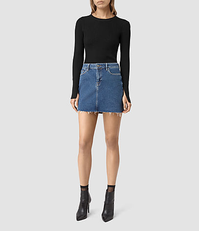 Ace Denim Mini Skirt - length: mini; pattern: plain; fit: tight; waist: high rise; predominant colour: denim; occasions: casual, creative work; style: mini skirt; fibres: cotton - 100%; texture group: denim; pattern type: fabric; season: s/s 2016; wardrobe: basic