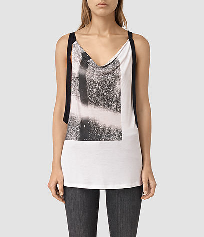Twilight Carli Tee - neckline: cowl/draped neck; sleeve style: sleeveless; length: below the bottom; style: vest top; predominant colour: white; secondary colour: charcoal; occasions: casual; fibres: viscose/rayon - 100%; fit: body skimming; sleeve length: sleeveless; pattern type: fabric; pattern: patterned/print; texture group: jersey - stretchy/drapey; multicoloured: multicoloured; season: s/s 2016
