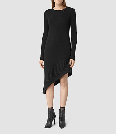 Keld Dress - length: mid thigh; neckline: round neck; pattern: plain; predominant colour: black; occasions: evening; fit: body skimming; style: asymmetric (hem); fibres: wool - 100%; sleeve length: long sleeve; sleeve style: standard; texture group: knits/crochet; pattern type: knitted - fine stitch; season: s/s 2016; wardrobe: event