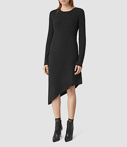 Keld Dress - neckline: round neck; pattern: plain; predominant colour: black; occasions: evening; length: just above the knee; fit: body skimming; style: asymmetric (hem); fibres: wool - 100%; sleeve length: long sleeve; sleeve style: standard; texture group: knits/crochet; pattern type: knitted - fine stitch; season: s/s 2016; wardrobe: event