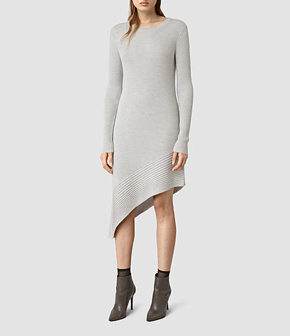 Keld Dress - length: mid thigh; neckline: round neck; pattern: plain; predominant colour: light grey; occasions: casual, creative work; fit: body skimming; style: asymmetric (hem); fibres: wool - 100%; sleeve length: long sleeve; sleeve style: standard; texture group: knits/crochet; pattern type: knitted - fine stitch; season: s/s 2016; wardrobe: basic