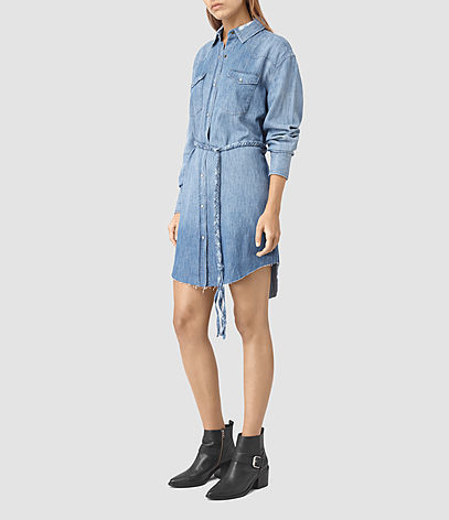 Xena Denim Dress - style: shirt; length: mid thigh; neckline: shirt collar/peter pan/zip with opening; pattern: plain; waist detail: belted waist/tie at waist/drawstring; predominant colour: denim; occasions: casual; fit: body skimming; fibres: cotton - 100%; sleeve length: 3/4 length; sleeve style: standard; texture group: denim; pattern type: fabric; season: s/s 2016; wardrobe: basic