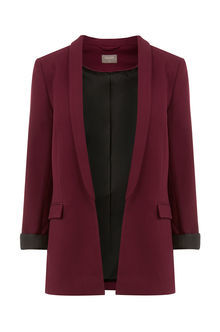 The Boyfriend Jacket - pattern: plain; style: single breasted blazer; collar: standard lapel/rever collar; predominant colour: burgundy; occasions: casual, creative work; length: standard; fit: tailored/fitted; fibres: polyester/polyamide - 100%; sleeve length: long sleeve; sleeve style: standard; collar break: low/open; pattern type: fabric; texture group: other - light to midweight; season: s/s 2016; wardrobe: highlight