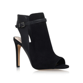 Kiara - predominant colour: black; occasions: casual, creative work; material: suede; heel: stiletto; toe: open toe/peeptoe; boot length: ankle boot; finish: plain; pattern: plain; heel height: very high; style: cut outs; season: s/s 2016; wardrobe: highlight