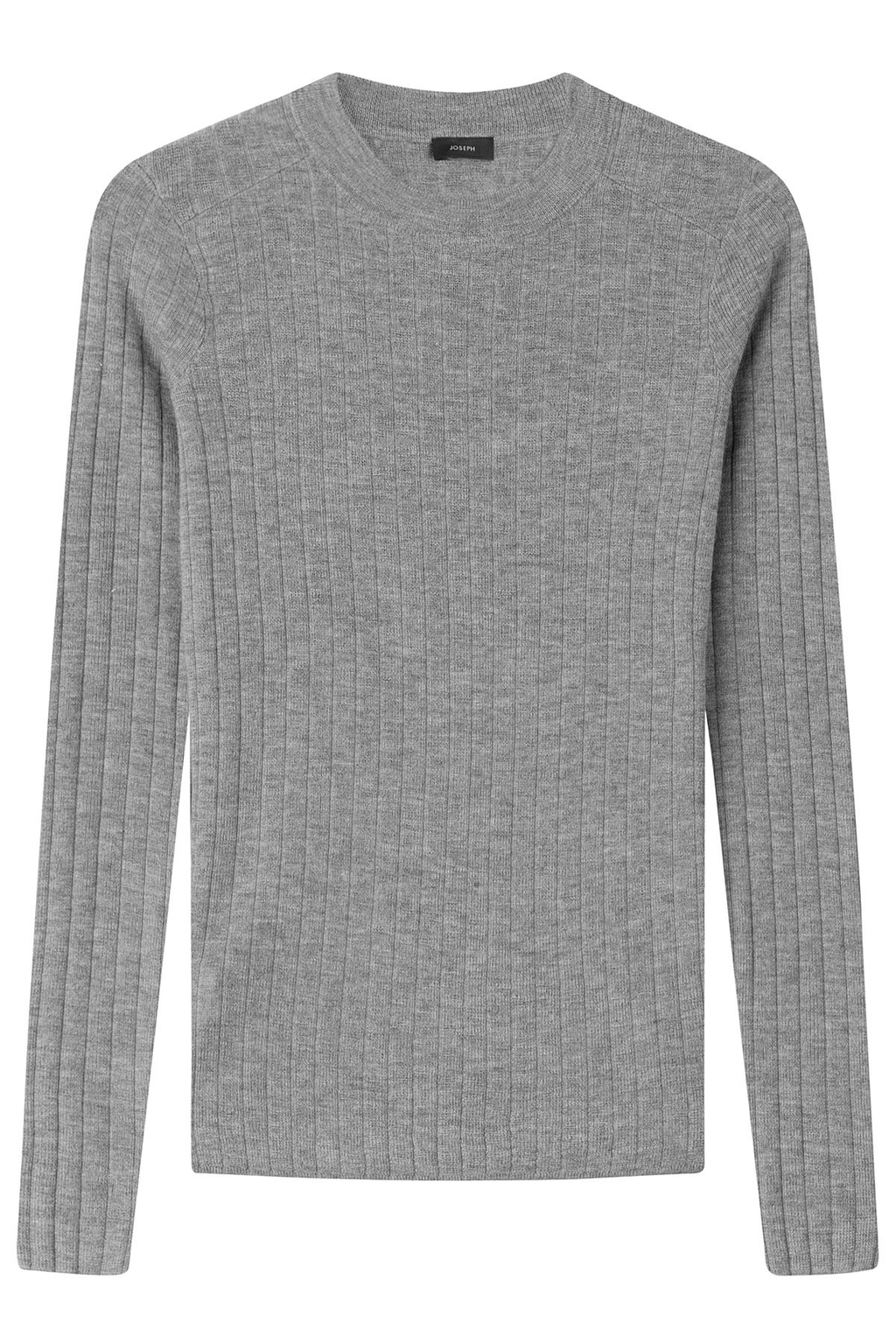 Ribbed Cashmere Pullover - neckline: round neck; pattern: plain; style: standard; predominant colour: mid grey; occasions: casual, work, creative work; length: standard; fit: standard fit; fibres: cashmere - 100%; sleeve length: long sleeve; sleeve style: standard; texture group: knits/crochet; pattern type: knitted - fine stitch; season: s/s 2016; wardrobe: investment