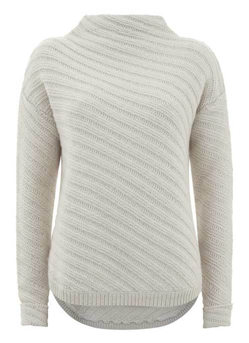 Ecru Diagonal Rib Stitch Cocoon Knit - neckline: high neck; pattern: striped; style: standard; predominant colour: light grey; occasions: casual; length: standard; fibres: acrylic - mix; fit: standard fit; sleeve length: long sleeve; sleeve style: standard; texture group: knits/crochet; pattern type: knitted - fine stitch; season: s/s 2016; wardrobe: highlight