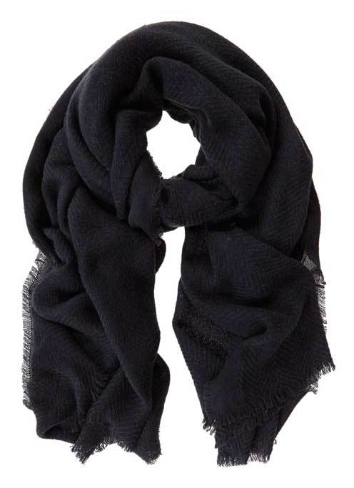 Navy Plain Textured Scarf - predominant colour: navy; occasions: casual; type of pattern: standard; style: regular; size: standard; material: fabric; pattern: plain; season: s/s 2016; wardrobe: basic
