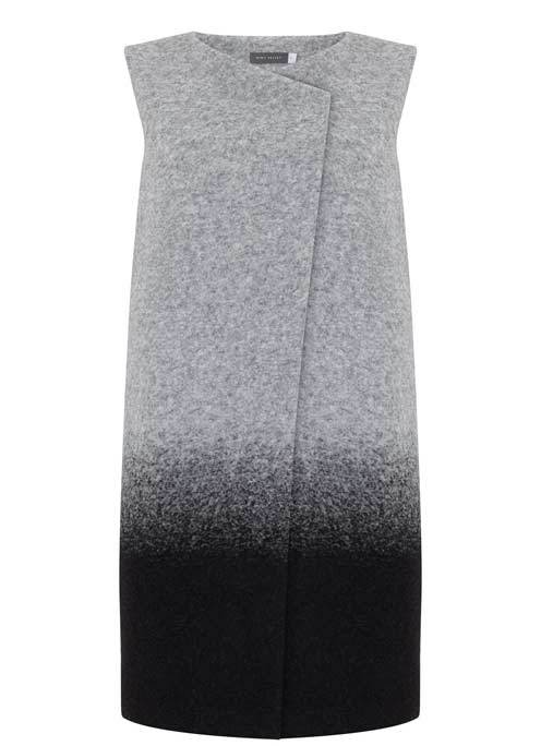 Silver Grey Ombre Waistcoat - pattern: plain; sleeve style: sleeveless; collar: round collar/collarless; fit: loose; length: below the bottom; predominant colour: mid grey; secondary colour: black; fibres: wool - mix; style: waistcoat; sleeve length: sleeveless; texture group: knits/crochet; collar break: high; pattern type: knitted - fine stitch; occasions: creative work; season: s/s 2016