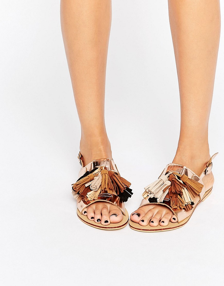Gold Multi Tassle Flat Sandals Gold - secondary colour: tan; predominant colour: nude; occasions: casual, holiday; material: faux leather; heel height: flat; embellishment: tassels; heel: standard; toe: open toe/peeptoe; style: standard; finish: plain; pattern: plain; multicoloured: multicoloured; season: s/s 2016; wardrobe: highlight