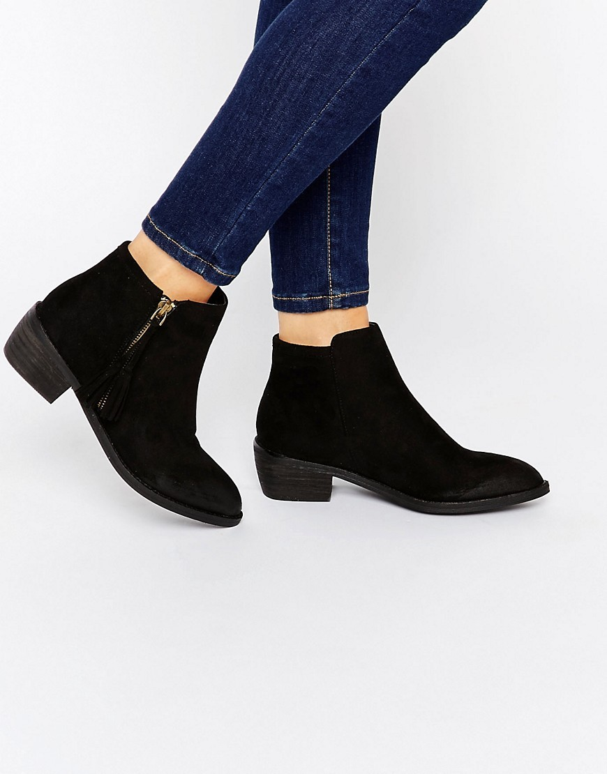 Zip Black Flat Ankle Boots Black Mf - predominant colour: black; occasions: casual; material: faux leather; heel height: mid; heel: block; toe: round toe; boot length: ankle boot; style: standard; finish: plain; pattern: plain; season: s/s 2016; wardrobe: basic