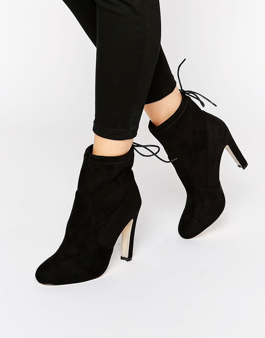 Tie Back Heeled Ankle Boots Black Mf - predominant colour: black; occasions: casual; heel height: high; heel: stiletto; toe: round toe; boot length: ankle boot; style: standard; finish: plain; pattern: plain; material: faux suede; season: s/s 2016; wardrobe: highlight