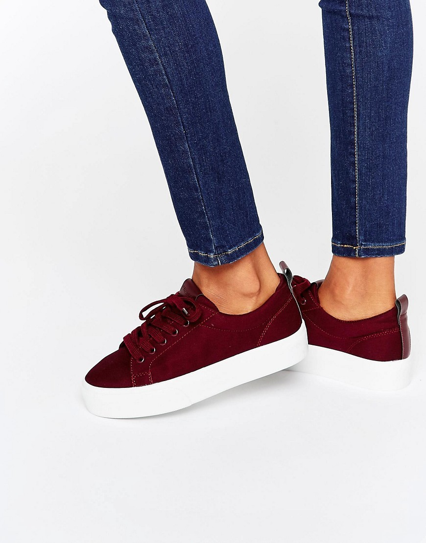Flatform Trainer Burgundy - predominant colour: burgundy; occasions: casual; material: suede; heel height: flat; toe: round toe; style: trainers; finish: plain; pattern: plain; season: s/s 2016; wardrobe: highlight