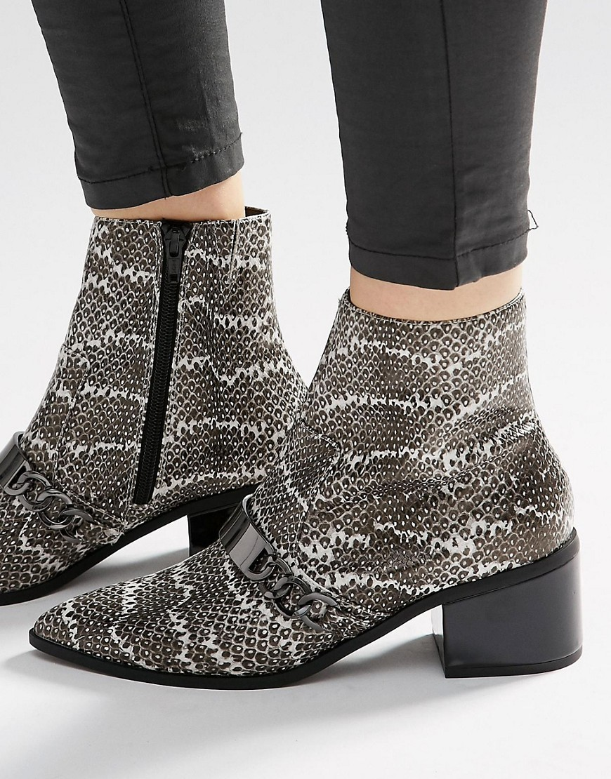 Rasqual Pointed Ankle Boots Snake - secondary colour: ivory/cream; predominant colour: mid grey; occasions: casual; material: faux leather; heel height: mid; heel: block; toe: pointed toe; boot length: ankle boot; style: standard; finish: plain; pattern: animal print; multicoloured: multicoloured; season: s/s 2016
