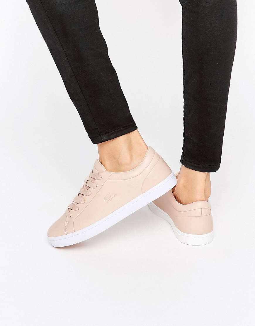 Premium Leather Straightset Court Trainers Pink - predominant colour: nude; occasions: casual; material: leather; heel height: flat; toe: round toe; style: trainers; finish: plain; pattern: plain; season: s/s 2016