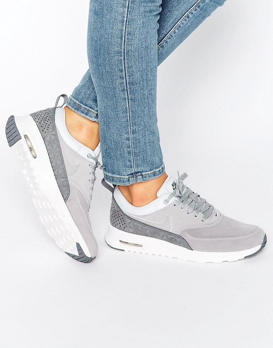 Air Max Thea Trainers In Premium Grey Nubuck Matte Silver/Mtt Slv - predominant colour: light grey; occasions: casual; material: leather; heel height: flat; toe: open toe/peeptoe; style: trainers; finish: plain; pattern: plain; season: s/s 2016