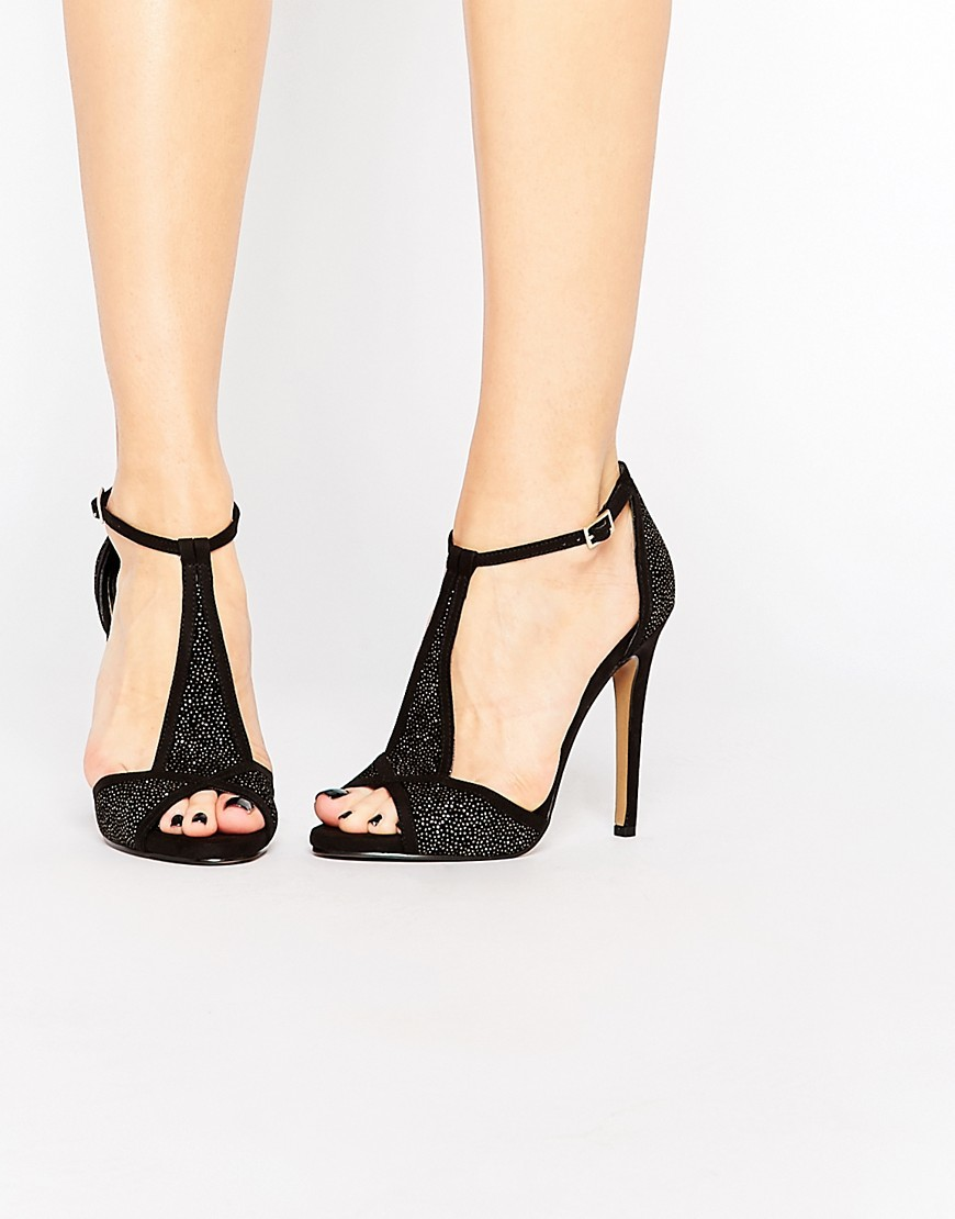 T Bar Heeled Sandals Black - predominant colour: black; occasions: evening, occasion; embellishment: glitter; ankle detail: ankle strap; heel: stiletto; toe: open toe/peeptoe; style: strappy; finish: plain; pattern: plain; heel height: very high; material: faux suede; season: s/s 2016; wardrobe: event