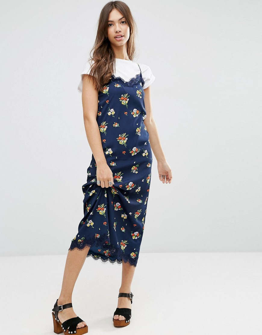 Lace Trim Ditsy Cami Maxi Dress Navy Floral - length: below the knee; neckline: low v-neck; sleeve style: spaghetti straps; predominant colour: navy; secondary colour: coral; occasions: casual, creative work; fit: straight cut; style: slip dress; fibres: polyester/polyamide - 100%; sleeve length: sleeveless; texture group: silky - light; pattern type: fabric; pattern size: standard; pattern: florals; multicoloured: multicoloured; season: s/s 2016; wardrobe: highlight; embellishment location: bust