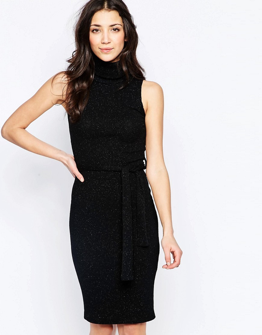 Midi Dress With Roll Neck Black - fit: tight; pattern: plain; sleeve style: sleeveless; style: bodycon; neckline: roll neck; predominant colour: black; occasions: evening; length: on the knee; fibres: viscose/rayon - stretch; sleeve length: sleeveless; texture group: jersey - clingy; pattern type: fabric; season: s/s 2016; wardrobe: event
