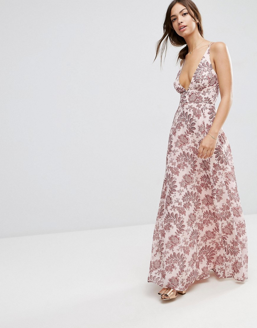 Deep Plunge Cami Maxi Dress In Pink Paisley Floral Multi - neckline: plunge; fit: empire; sleeve style: sleeveless; style: maxi dress; secondary colour: pink; predominant colour: blush; occasions: evening; length: floor length; fibres: polyester/polyamide - 100%; hip detail: subtle/flattering hip detail; sleeve length: sleeveless; texture group: sheer fabrics/chiffon/organza etc.; pattern type: fabric; pattern size: standard; pattern: florals; season: s/s 2016; wardrobe: event