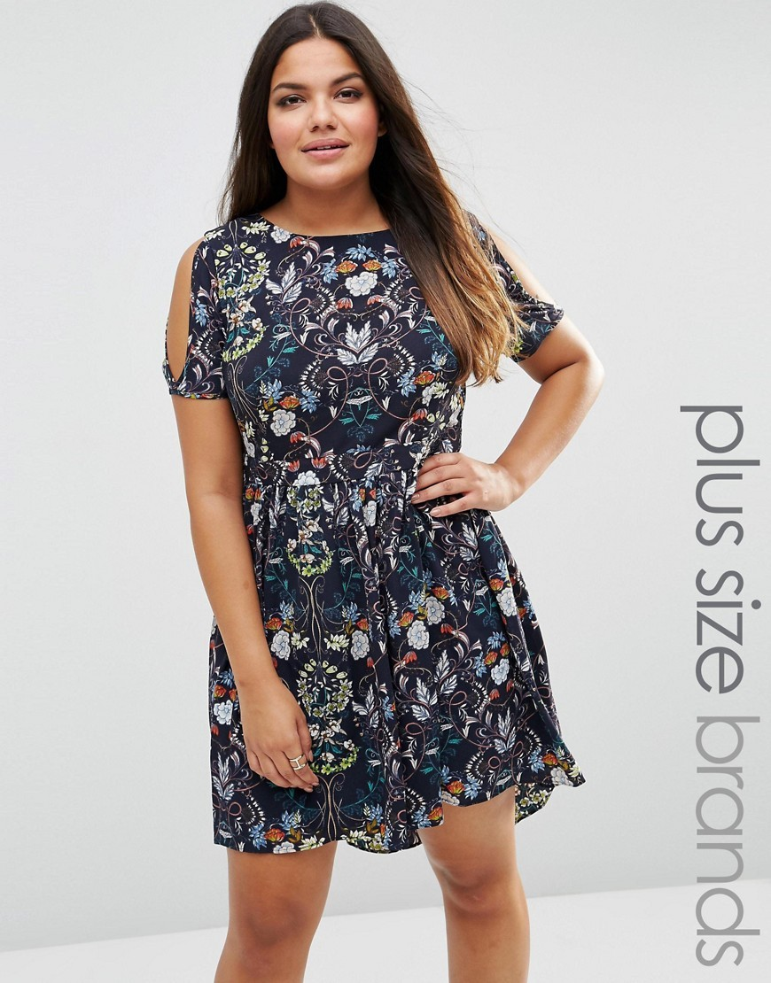 Plus Skater Dress With Cold Shoulder In Vintage Floral Print Navy - predominant colour: navy; secondary colour: light grey; occasions: casual; length: just above the knee; fit: fitted at waist & bust; style: fit & flare; fibres: polyester/polyamide - 100%; neckline: crew; shoulder detail: cut out shoulder; sleeve length: short sleeve; sleeve style: standard; pattern type: fabric; pattern: florals; texture group: other - light to midweight; multicoloured: multicoloured; season: s/s 2016