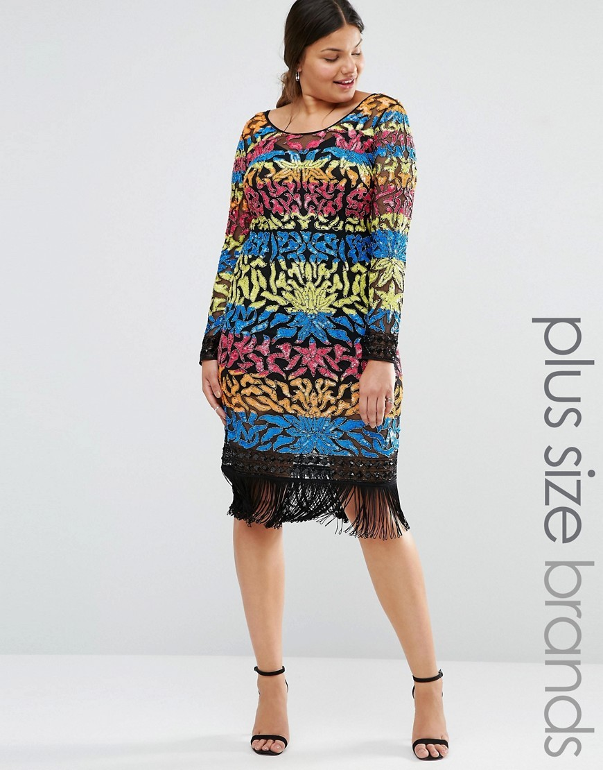 Long Sleeve Multi Colour Sequin Mini Dress With Tassel Hem Multi - style: shift; length: below the knee; neckline: round neck; predominant colour: diva blue; secondary colour: primrose yellow; fit: body skimming; fibres: polyester/polyamide - 100%; occasions: occasion; sleeve length: long sleeve; sleeve style: standard; pattern type: fabric; pattern: patterned/print; texture group: other - light to midweight; embellishment: sequins; multicoloured: multicoloured; season: s/s 2016; wardrobe: event