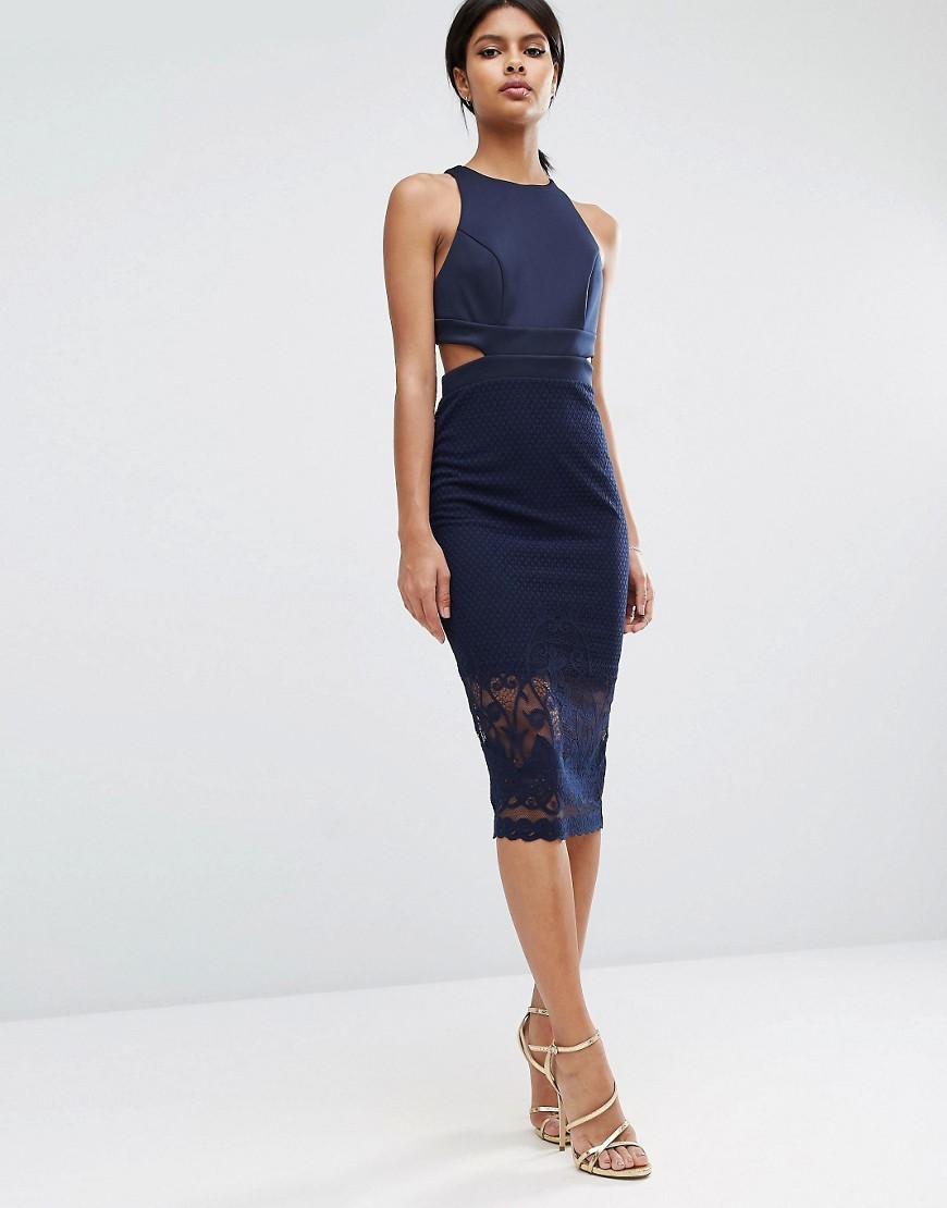 Scuba Cutout Back Lace Pencil Midi Dress Navy - length: below the knee; fit: tight; pattern: plain; sleeve style: sleeveless; style: bodycon; predominant colour: navy; occasions: evening; fibres: polyester/polyamide - stretch; neckline: crew; waist detail: cut out detail; sleeve length: sleeveless; texture group: jersey - clingy; pattern type: fabric; embellishment: lace; season: s/s 2016; wardrobe: event