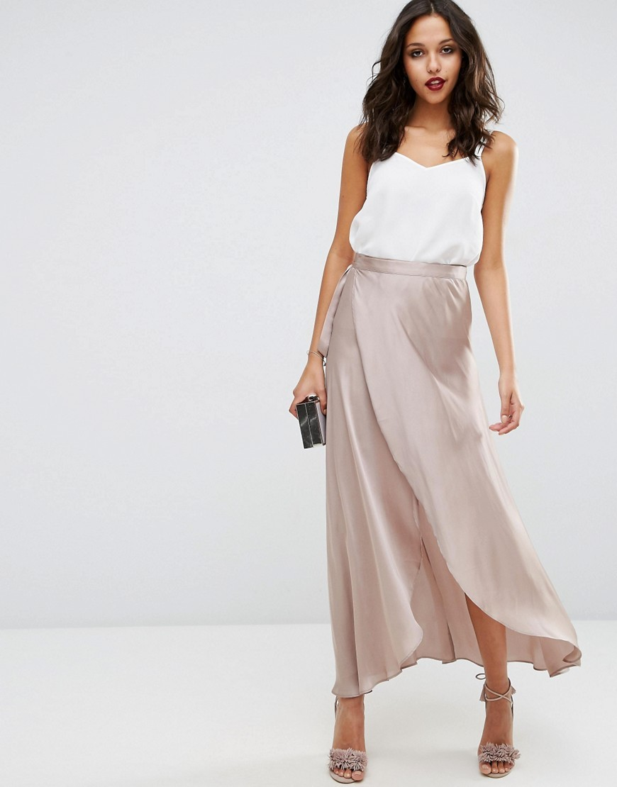 Maxi Wrap Skirt In Satin Taupe - pattern: plain; style: wrap/faux wrap; length: ankle length; fit: loose/voluminous; waist: mid/regular rise; predominant colour: taupe; occasions: evening; fibres: polyester/polyamide - 100%; texture group: structured shiny - satin/tafetta/silk etc.; pattern type: fabric; season: s/s 2016; wardrobe: event