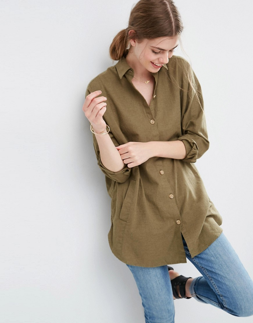 Soft Twill Oversized Shirt Khaki - neckline: shirt collar/peter pan/zip with opening; pattern: plain; length: below the bottom; style: shirt; predominant colour: khaki; occasions: casual; fibres: cotton - 100%; fit: straight cut; sleeve length: 3/4 length; sleeve style: standard; texture group: cotton feel fabrics; pattern type: fabric; season: s/s 2016; wardrobe: basic