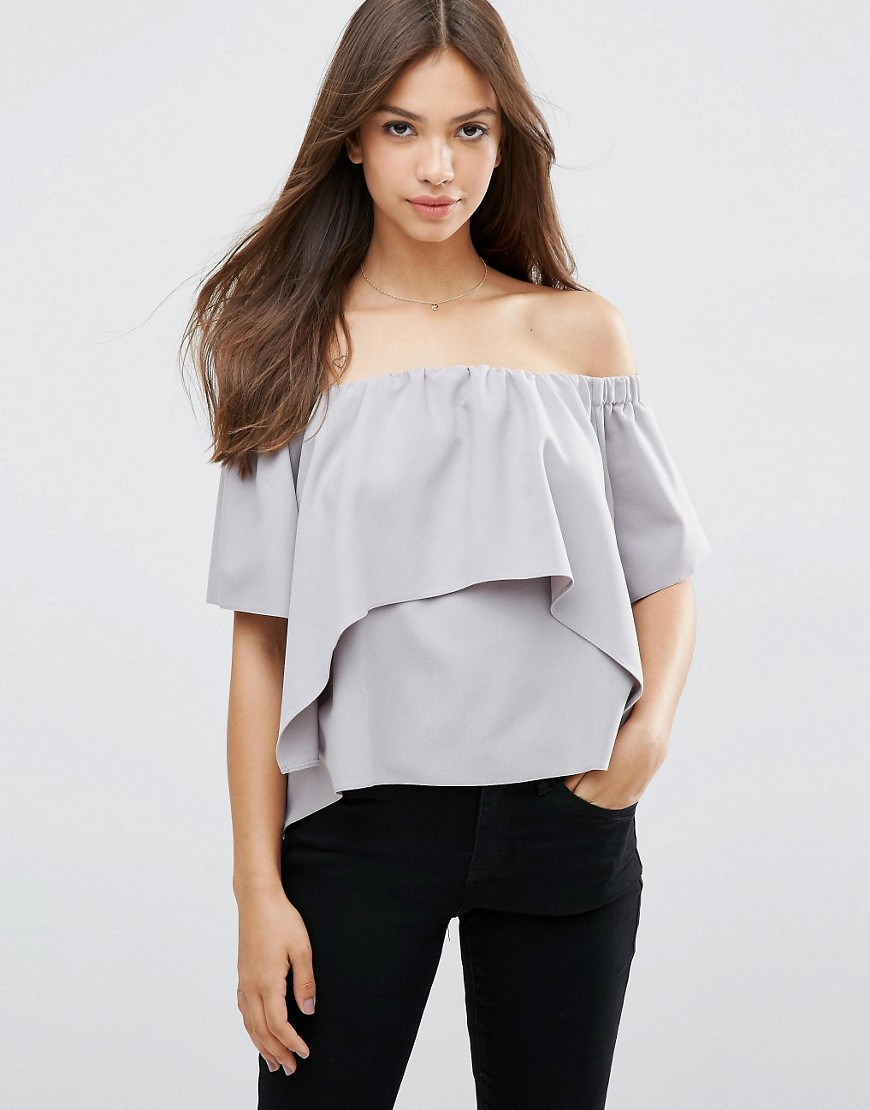 Tiered Off Shoulder Top Silver - neckline: off the shoulder; pattern: plain; predominant colour: light grey; occasions: casual, holiday; length: standard; style: top; fibres: polyester/polyamide - mix; fit: body skimming; sleeve length: half sleeve; sleeve style: standard; pattern type: fabric; texture group: jersey - stretchy/drapey; season: s/s 2016; wardrobe: highlight