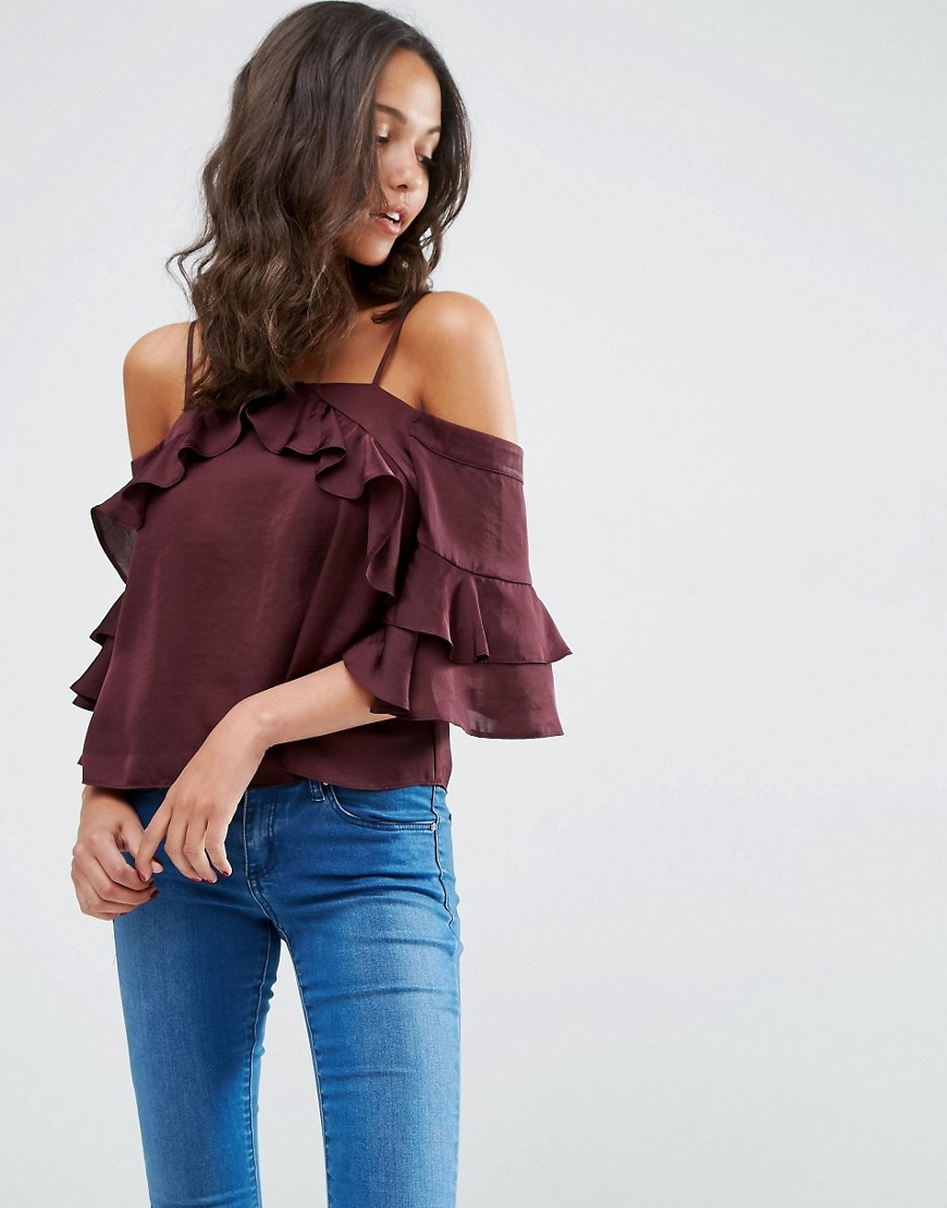 Cold Shoulder Top In Satin With Ruffle Sleeve Oxblood - sleeve style: angel/waterfall; pattern: plain; predominant colour: burgundy; occasions: casual, evening; length: standard; style: top; fibres: polyester/polyamide - 100%; fit: body skimming; sleeve length: 3/4 length; texture group: structured shiny - satin/tafetta/silk etc.; neckline: low square neck; pattern type: fabric; season: s/s 2016; wardrobe: highlight