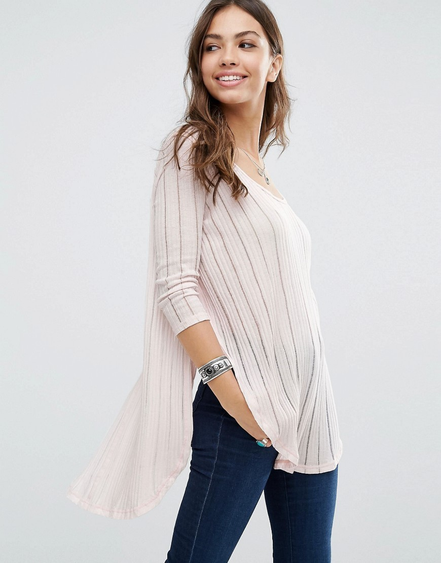 Hacci Astoria Top Light Pink - neckline: round neck; pattern: striped; predominant colour: blush; secondary colour: blush; occasions: casual, creative work; length: standard; style: top; fibres: cotton - mix; fit: loose; back detail: longer hem at back than at front; sleeve length: 3/4 length; sleeve style: standard; texture group: cotton feel fabrics; pattern type: fabric; pattern size: standard; season: s/s 2016; wardrobe: highlight
