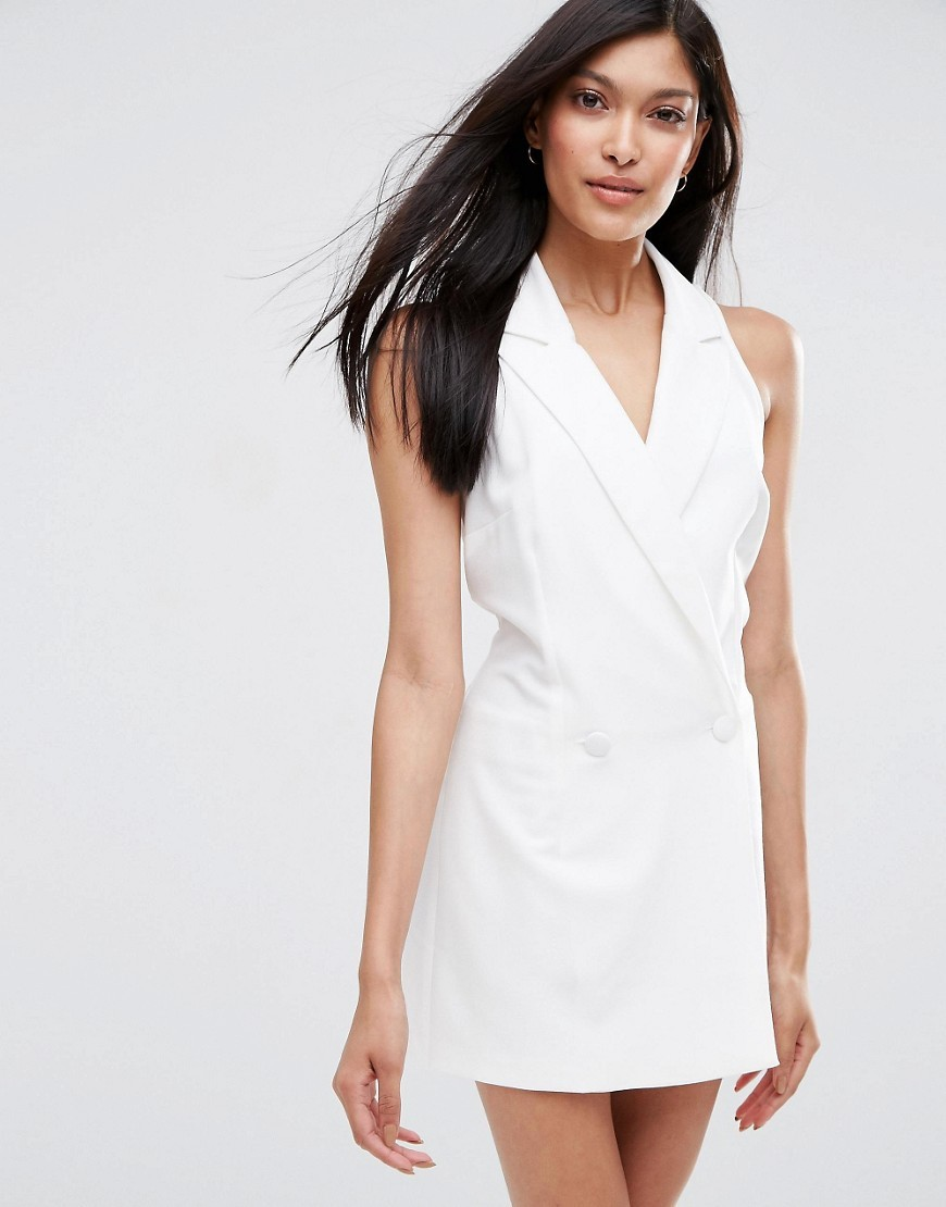 Glam Tux Playsuit Ivory - neckline: v-neck; fit: tailored/fitted; pattern: plain; sleeve style: sleeveless; length: short shorts; predominant colour: white; occasions: casual; fibres: polyester/polyamide - stretch; sleeve length: sleeveless; style: playsuit; pattern type: fabric; texture group: other - light to midweight; season: s/s 2016; wardrobe: highlight