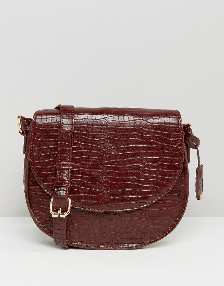 Faux Snake Saddle Bag Burgundy Snake - predominant colour: chocolate brown; occasions: casual; type of pattern: standard; style: messenger; length: across body/long; size: small; material: faux leather; pattern: plain; finish: plain; season: s/s 2016; wardrobe: basic