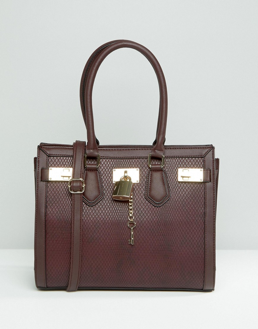 Structured Tote With Faux Snake Detail Oxblood - predominant colour: chocolate brown; occasions: casual; type of pattern: standard; style: tote; length: shoulder (tucks under arm); size: standard; material: faux leather; pattern: plain; finish: plain; season: s/s 2016; wardrobe: investment