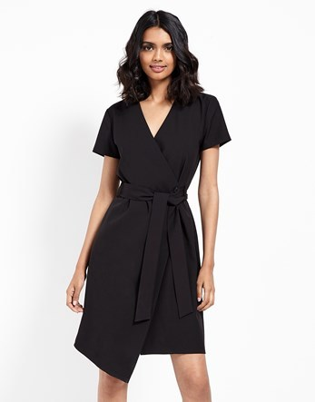 Tie Up Wrap Dress - style: faux wrap/wrap; neckline: v-neck; pattern: plain; waist detail: belted waist/tie at waist/drawstring; predominant colour: black; occasions: evening, work, creative work; length: just above the knee; fit: body skimming; fibres: polyester/polyamide - stretch; sleeve length: short sleeve; sleeve style: standard; pattern type: fabric; texture group: jersey - stretchy/drapey; season: s/s 2016; wardrobe: investment