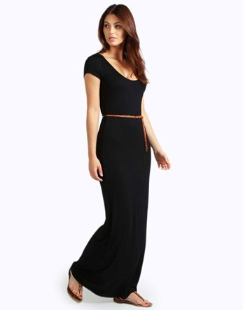 Cap Sleeve Belted Maxi Dress - pattern: plain; style: maxi dress; length: ankle length; waist detail: belted waist/tie at waist/drawstring; predominant colour: black; occasions: casual; fit: body skimming; neckline: scoop; fibres: polyester/polyamide - stretch; sleeve length: short sleeve; sleeve style: standard; pattern type: fabric; texture group: jersey - stretchy/drapey; season: s/s 2016; wardrobe: basic
