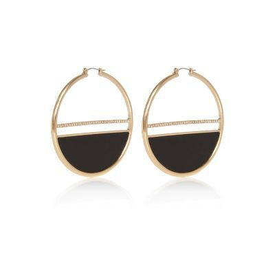 Womens Gold Tone Glam Statement Hoop Earrings - predominant colour: gold; secondary colour: black; occasions: evening, occasion; style: hoop; length: long; size: large/oversized; material: chain/metal; fastening: pierced; finish: metallic; season: s/s 2016