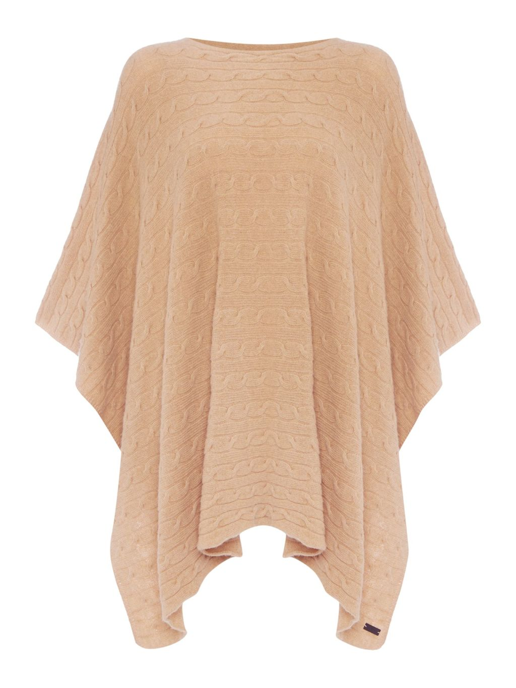 Cable Knit Poncho, Beige - neckline: round neck; pattern: plain; length: below the bottom; style: poncho; predominant colour: camel; occasions: casual, creative work; fibres: wool - mix; fit: loose; hip detail: dip hem; sleeve length: long sleeve; texture group: knits/crochet; pattern type: knitted - fine stitch; sleeve style: cape/poncho sleeve; season: s/s 2016; wardrobe: highlight