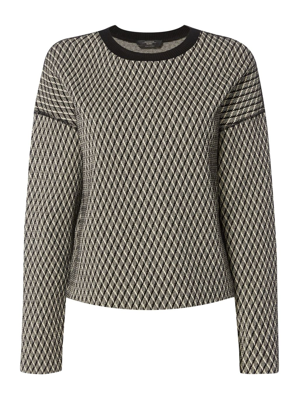 Andina Knitted Jacquard Jumper, Multi Coloured - neckline: round neck; sleeve style: dolman/batwing; style: standard; predominant colour: black; occasions: casual, creative work; length: standard; fibres: cotton - mix; fit: standard fit; sleeve length: long sleeve; texture group: knits/crochet; pattern type: knitted - fine stitch; pattern size: standard; pattern: patterned/print; season: s/s 2016; wardrobe: highlight