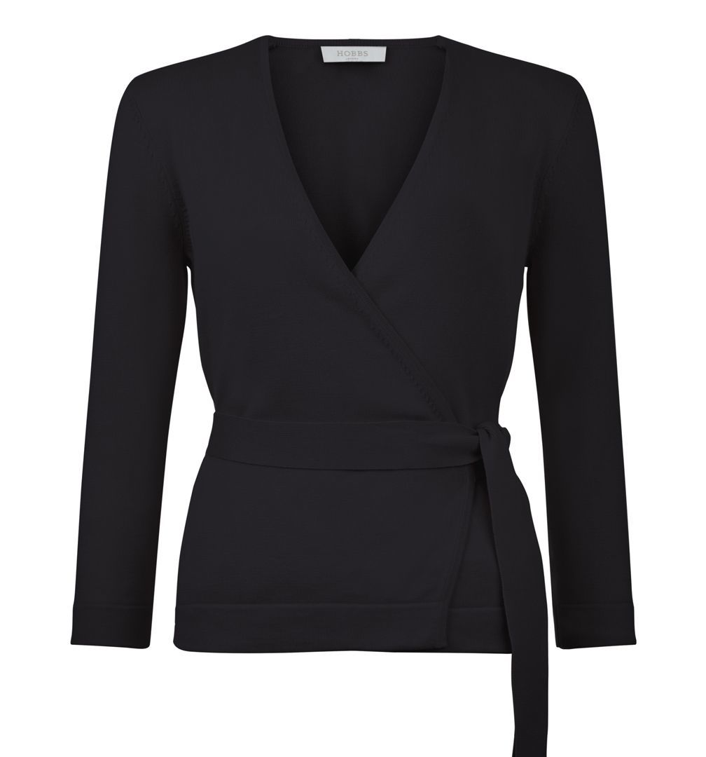 Myah Cardigan, Black - neckline: low v-neck; pattern: plain; style: wrap; predominant colour: black; occasions: work; length: standard; fibres: cotton - 100%; fit: standard fit; waist detail: belted waist/tie at waist/drawstring; sleeve length: 3/4 length; sleeve style: standard; texture group: knits/crochet; pattern type: knitted - fine stitch; season: s/s 2016