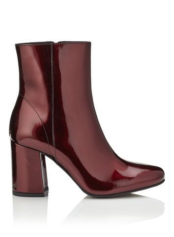 Womens Adoni Patent Leather Boot, Burgundy - predominant colour: burgundy; occasions: casual, creative work; material: leather; heel height: high; heel: block; toe: pointed toe; boot length: ankle boot; style: standard; finish: patent; pattern: plain; season: s/s 2016; wardrobe: highlight