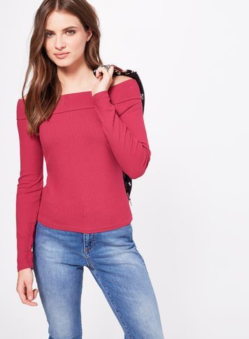 Womens Burgundy Longsleeve Bardot Top, Burgundy - neckline: slash/boat neckline; pattern: plain; predominant colour: true red; occasions: casual, creative work; length: standard; style: top; fibres: viscose/rayon - stretch; fit: body skimming; sleeve length: long sleeve; sleeve style: standard; pattern type: fabric; texture group: jersey - stretchy/drapey; season: s/s 2016; wardrobe: highlight