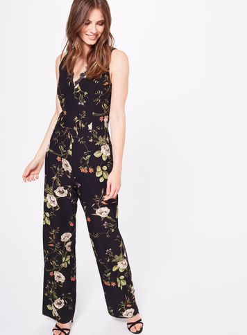 Womens Premium Lace Trim Printed Jumpsuit, Assorted - length: standard; neckline: low v-neck; sleeve style: sleeveless; waist detail: belted waist/tie at waist/drawstring; secondary colour: ivory/cream; predominant colour: black; occasions: casual; fit: body skimming; fibres: polyester/polyamide - stretch; sleeve length: sleeveless; style: jumpsuit; pattern type: fabric; pattern size: big & busy; pattern: florals; texture group: jersey - stretchy/drapey; multicoloured: multicoloured; season: s/s 2016; wardrobe: highlight