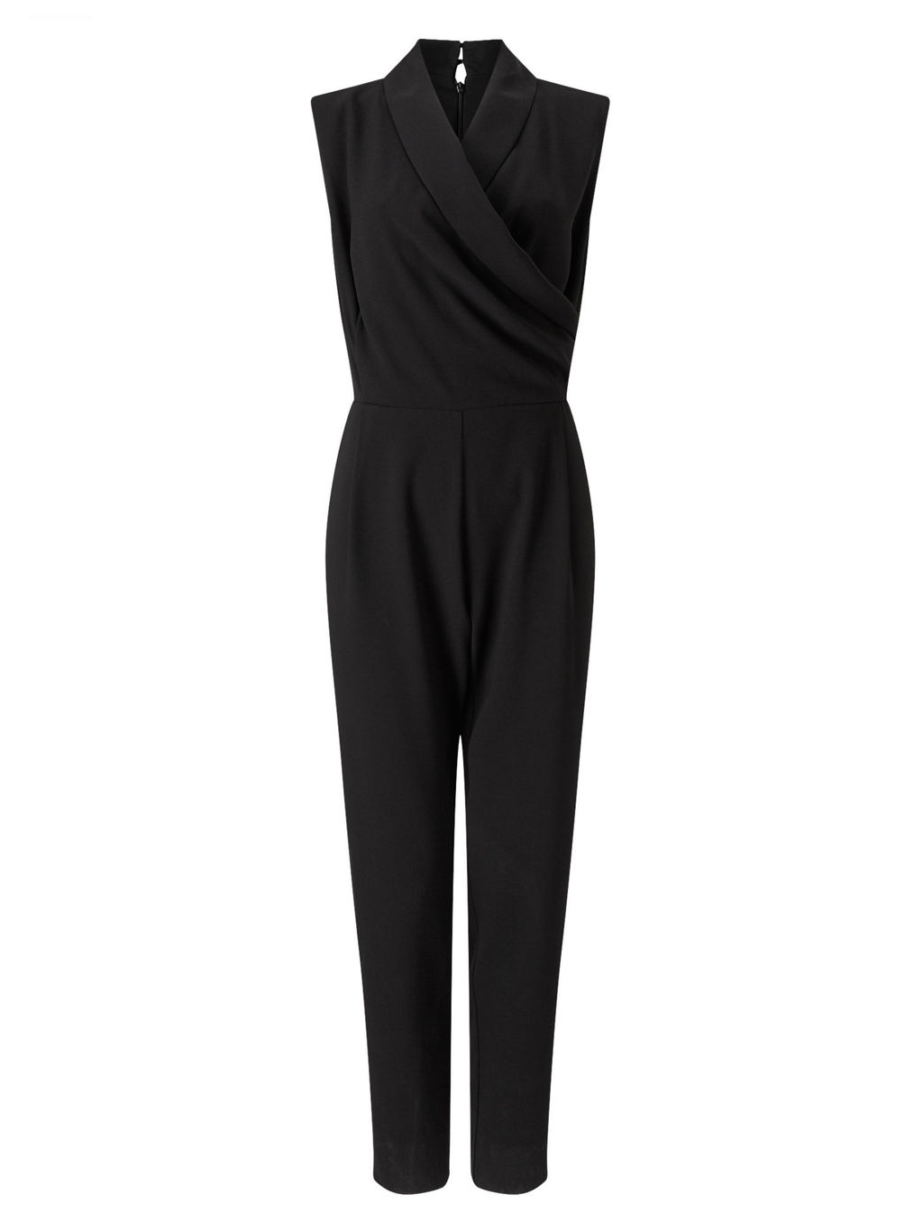 Wrap Top Jumpsuit - length: standard; neckline: v-neck; pattern: plain; sleeve style: sleeveless; predominant colour: black; occasions: evening; fit: body skimming; fibres: polyester/polyamide - 100%; sleeve length: sleeveless; style: jumpsuit; pattern type: fabric; texture group: jersey - stretchy/drapey; season: s/s 2016; wardrobe: event