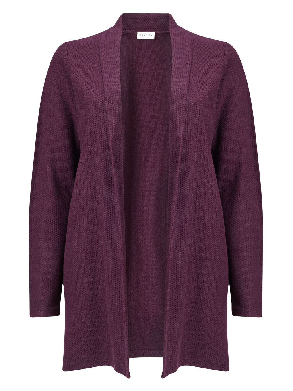 Textured Cardigan - pattern: plain; neckline: shawl; style: open front; predominant colour: purple; occasions: casual, work, creative work; fibres: cotton - mix; fit: loose; length: mid thigh; sleeve length: long sleeve; sleeve style: standard; texture group: knits/crochet; pattern type: knitted - fine stitch; season: s/s 2016