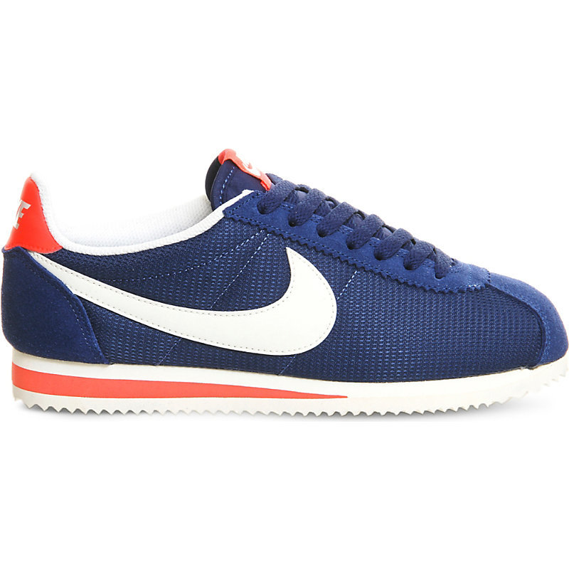 Cortez Suede Trainers, Women's, Coastal Blue Crimson - predominant colour: navy; occasions: casual; material: suede; heel height: flat; toe: round toe; style: trainers; finish: plain; pattern: plain; season: s/s 2016; wardrobe: basic