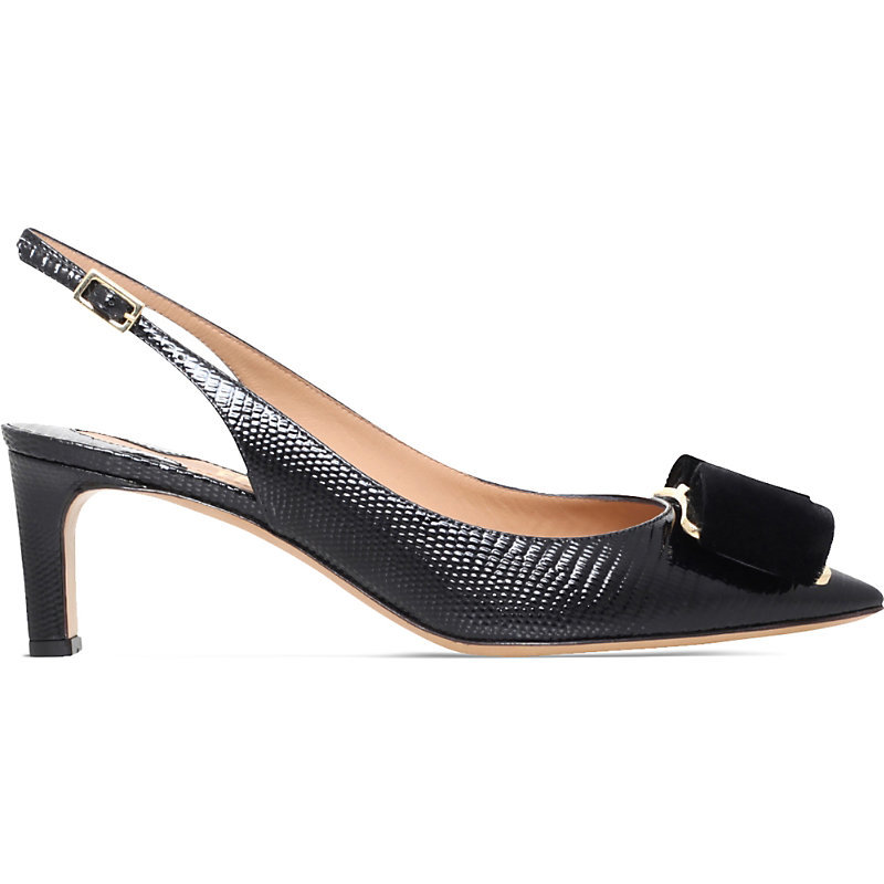 Fiji Lizard Embossed Leather Slingback Courts, Women's, Eur 36.5 / 3.5 Uk Women, Black - predominant colour: black; occasions: evening, work, occasion; material: leather; heel height: mid; heel: kitten; toe: open toe/peeptoe; style: slingbacks; finish: plain; pattern: animal print; season: s/s 2016