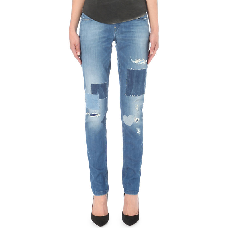 Patchwork Straight Mid Rise Jeans, Women's, Black - style: straight leg; length: standard; pattern: plain; pocket detail: traditional 5 pocket; waist: mid/regular rise; predominant colour: denim; occasions: casual, creative work; fibres: cotton - stretch; jeans detail: shading down centre of thigh, washed/faded, rips; texture group: denim; pattern type: fabric; season: s/s 2016; wardrobe: basic